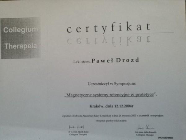 Certyfikat z uczestnictwa sympozium