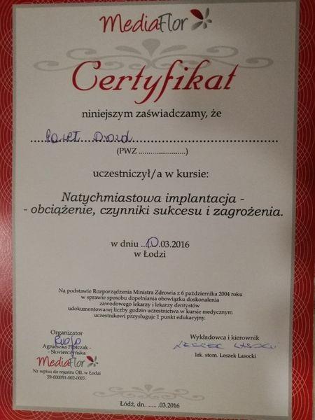 Certyfikat kurs natychmiastowa implantacja