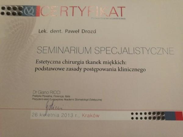 Certyfikat seminarium specjalistyczne