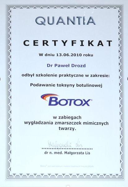 Certyfikat podawanie toksyny botulinowej