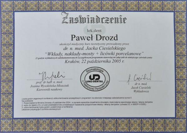 Certyfikat kurs teoretyczny