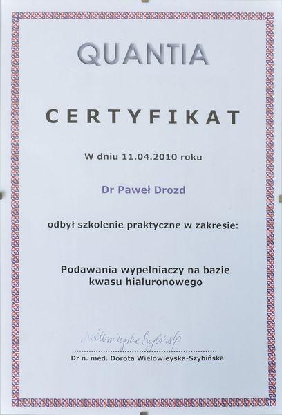 Certyfikat podawanie wypełniaczy