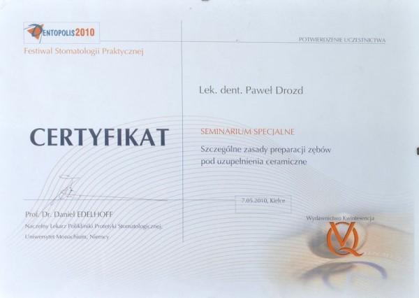 Certyfikat uzupełnianie ceramiczne
