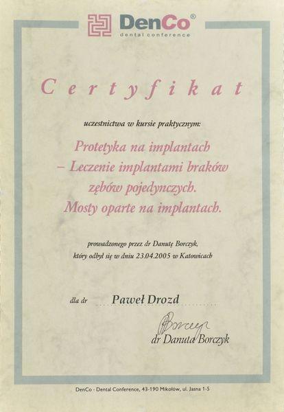 Certyfikat uczestnictwa w kursie praktycznym